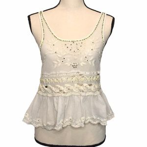 Free People Destructed Lace Tank Top in Ivory